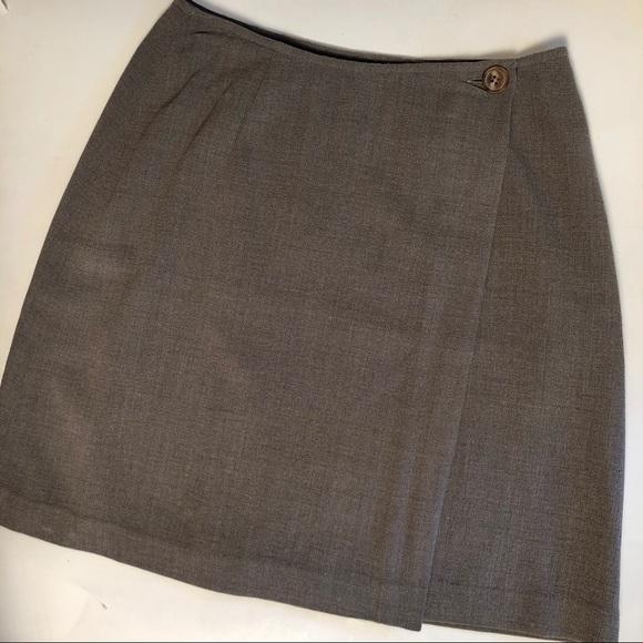 Dkny Dresses & Skirts - DKNY | Vintage Wrap Button Mini Skirt Wool Silk 2
